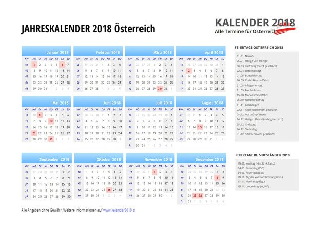 kalender 2018 sterreich feiertage ferien kw. Black Bedroom Furniture Sets. Home Design Ideas
